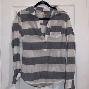 NWT Merona Gray and white button down. Size XS
